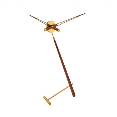 Часы Nomon Puntero Gold, латунь/дерево, D74 см