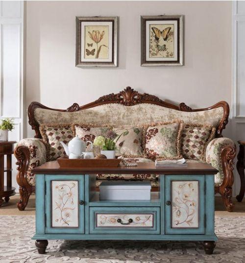 Журнальный стол Cilan, голубой с росписью