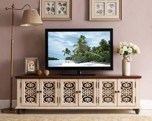 ТВ-тумба Cilan, ретро белый, ажурные двери