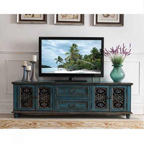 ТВ-тумба Cilan, ретро синий, ажурные двери