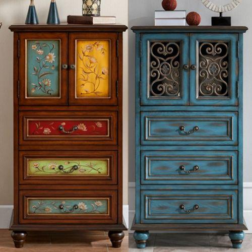 Буфет Cilan, ретро синий, ажурные двери