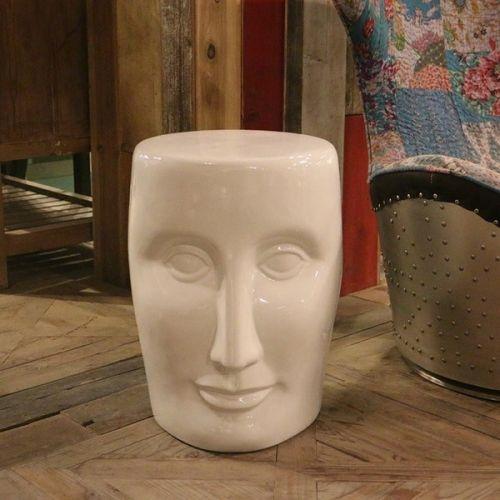 Табурет керамический  Лицо, Белое