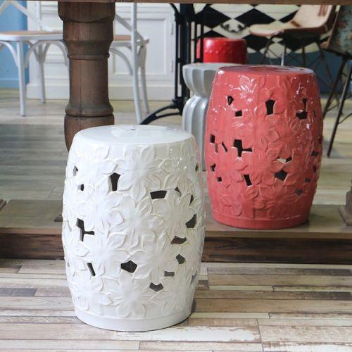 Керамический табурет Цветок, Белый
