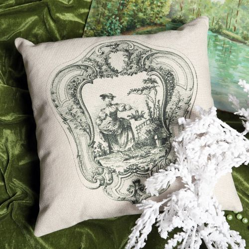 Декоративная подушка «Туаль де Жуи», сюжет 1, антик грин