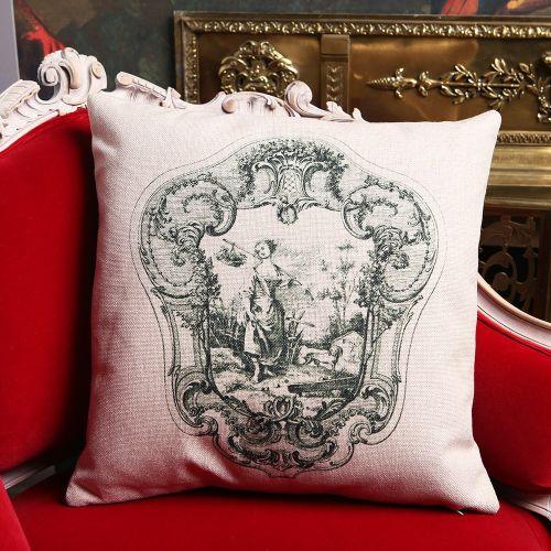 Декоративная подушка «Туаль де Жуи», сюжет 2, антик грин
