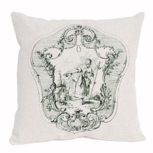 Декоративная подушка «Туаль де Жуи», сюжет 3, антик грин