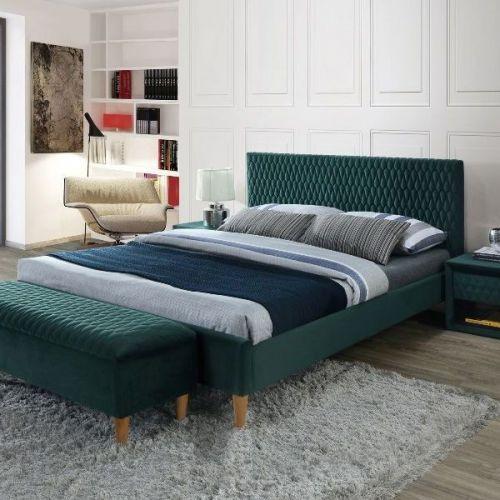 Кровать Signal AZURRO Velvet 160 (зеленый/дуб)
