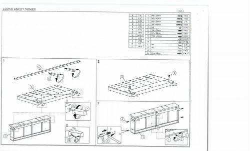 Кровать Signal ASCOT (серый) 160/200