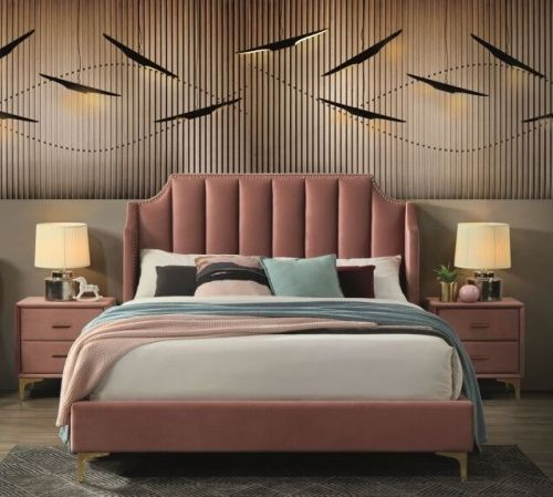 Кровать Signal MONAKO VELVET (античный розовый/золотой) 160/200