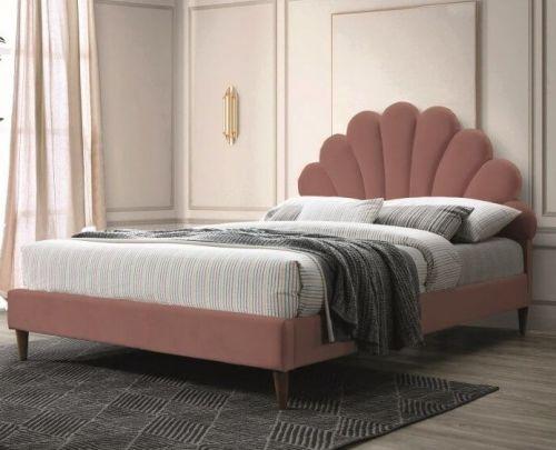 Кровать Signal SANTANA VELVET (античный розовый/дуб) 160/200
