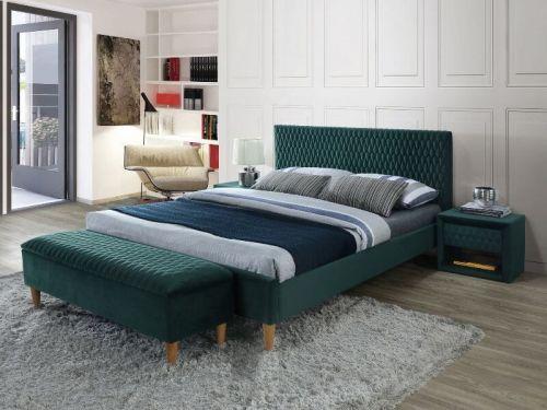 Кровать Signal AZURRO VELVET BLUVEL 78 (зеленый/дуб) 180/200