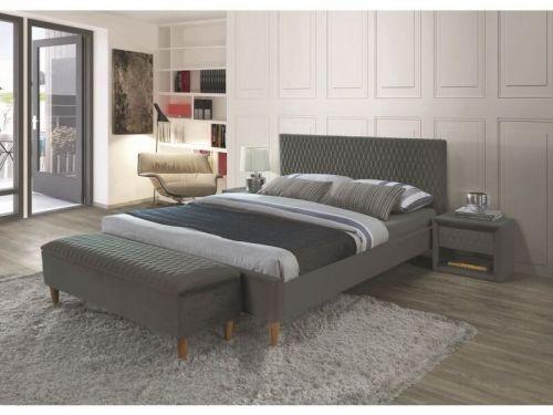 Кровать Signal AZURRO VELVET BLUVEL 14 (серый/дуб) 180/200