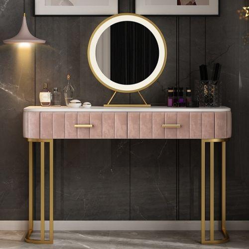 Туалетный столик на металлических ножках с мраморной столешницей без зеркала