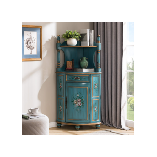 Угловой стеллаж Cilan, 145, голубой с росписью